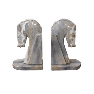 Mid-Century Onyx Carved Horse Bookends - A Pair