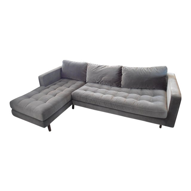 Shadow Gray Velvet Sectional, Left Chaise, Tufted Seating - Image 1 of 6