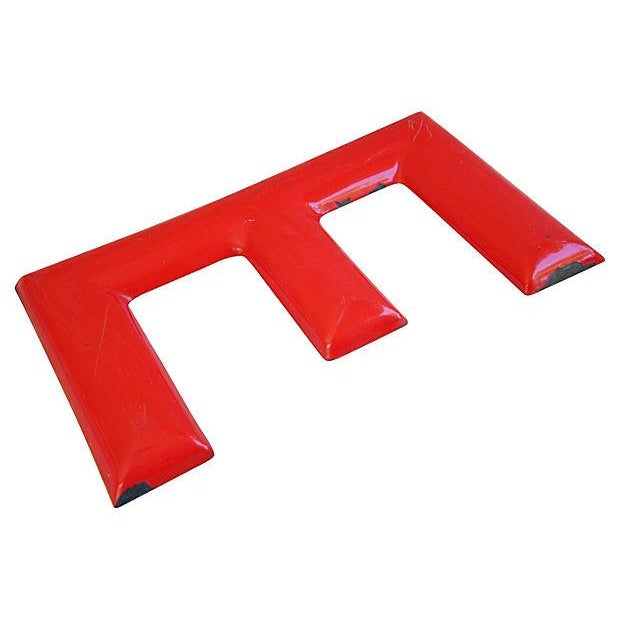"Image of 18"" Large 1950s Red Enameled Porcelain Letter E"