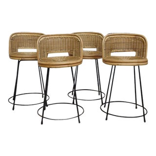 Seng of Chicago Mid-Century Rattan Stools - Set of 4