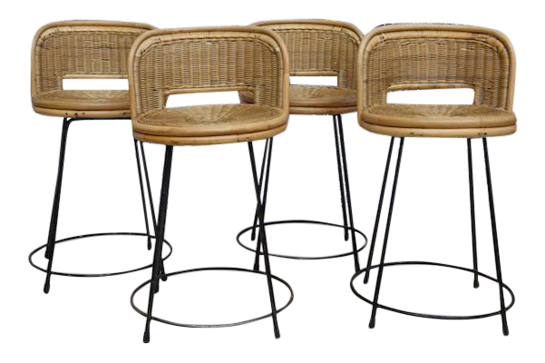Seng of Chicago Mid-Century Rattan Stools - Set of 4  sc 1 st  Chairish : chicago stool chair inc - islam-shia.org