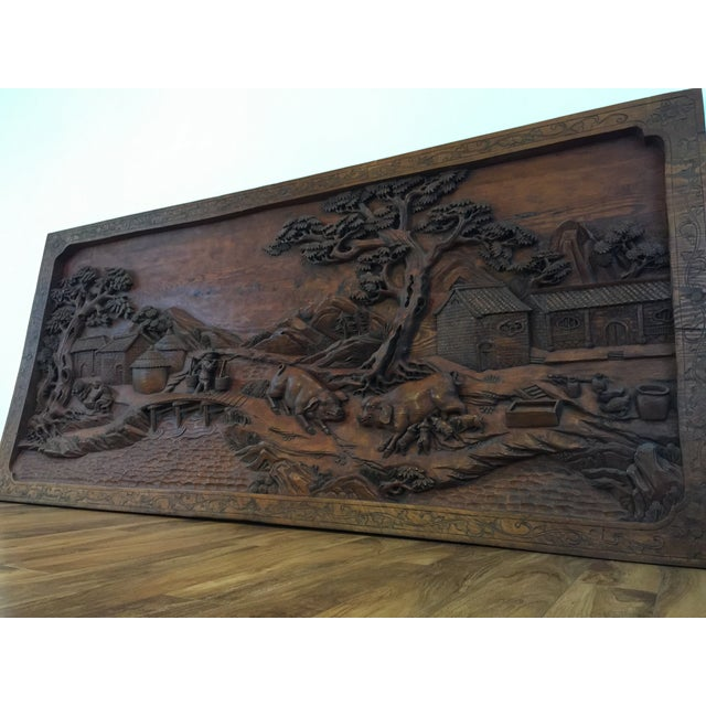 Hand carved wood relief wall sculpture chairish