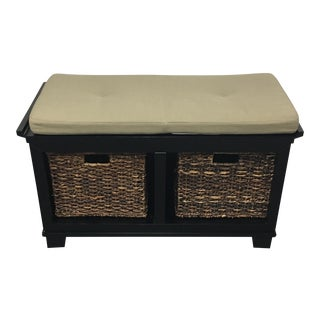 Crate & Barrel Black Wood Bench
