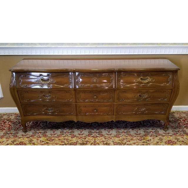 1960s Italian Provincial Fruitwood Bombe Style 9 Drawer