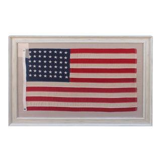 Early 20Th c 48 Star Framed Shps Flag in Custom Distressed Frame