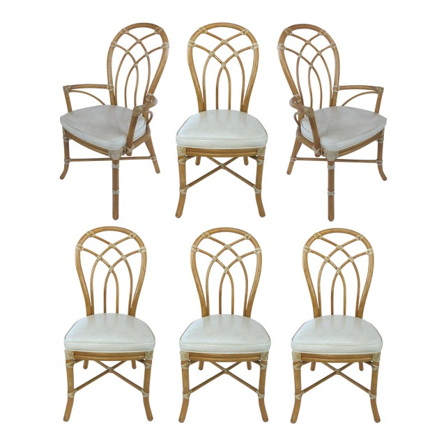 McGuire Rattan Dining Chairs - Set of 6 - Image 1 of 10