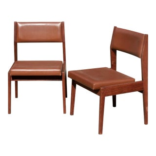 Jens Risom Danish Mid-Century Modern Walnut Side Chairs- A Pair