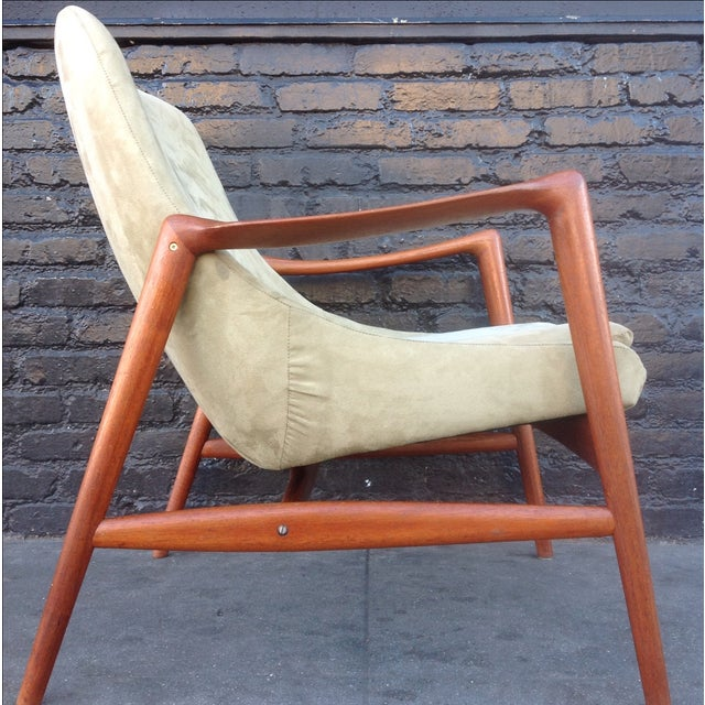 Danish Suede Lounge Chair - Image 4 of 7