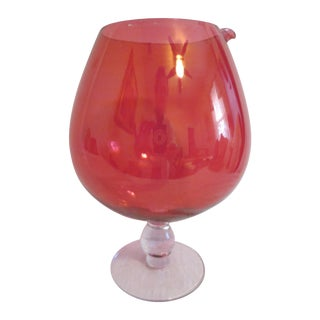Red Glass Cocktail Bowl