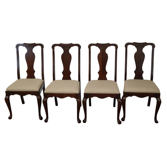 Solid Cherry Queen Anne Dining Chairs Set Of 4 Chairish