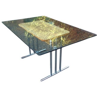 Glass, Chrome & Wicker Mid-Century Dining Table