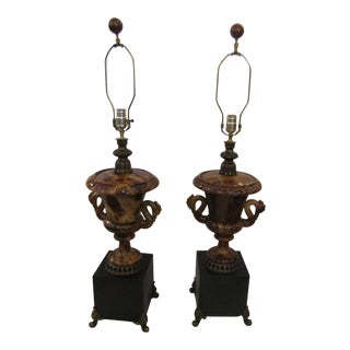 Faux Marble Urn Lamps - A Pair