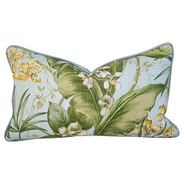 Image of Custom Tropical Linen & Velvet Pillows - a Pair