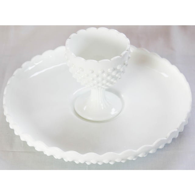 Image of Fenton Hobnail Serving Dish and Cup - A Pair