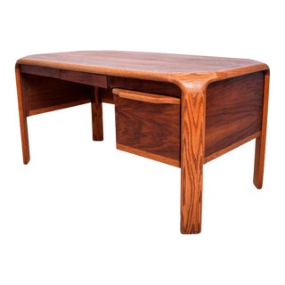 Lou Hodges Walnut & Oak Mid-Century Modern Desk