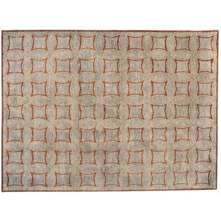 Red Cross Weave Tufted Rug - 9′ × 12′