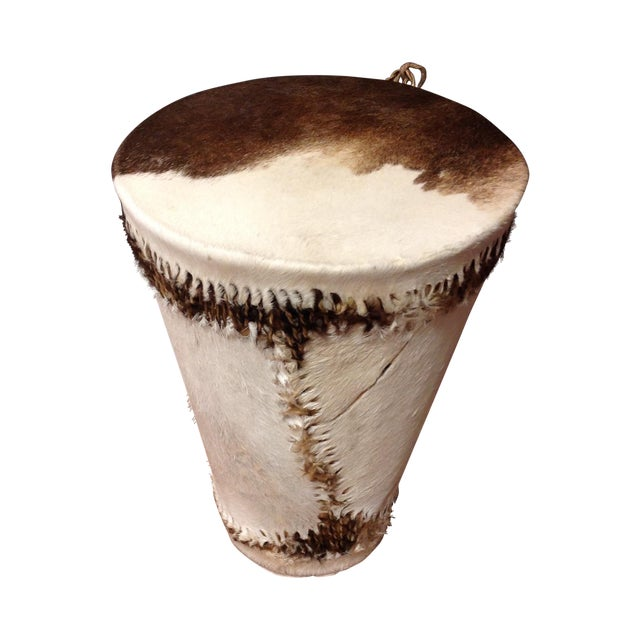 Cowhide Drum Side Table - Image 1 of 7