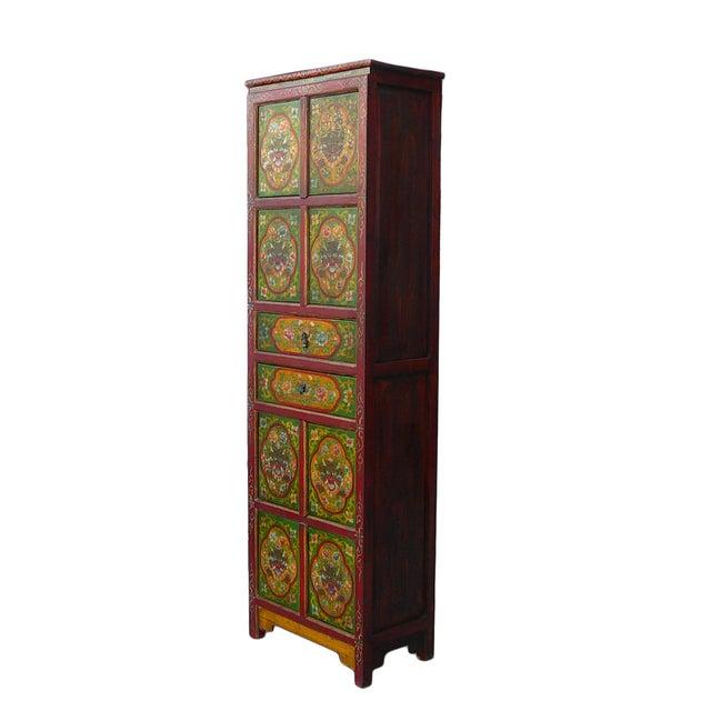 Chinese Tibetan Green Red Dragon Slim Cabinet - Image 4 of 6