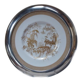 Chinoiserie Themed Sterling Silver Rimmed Plate