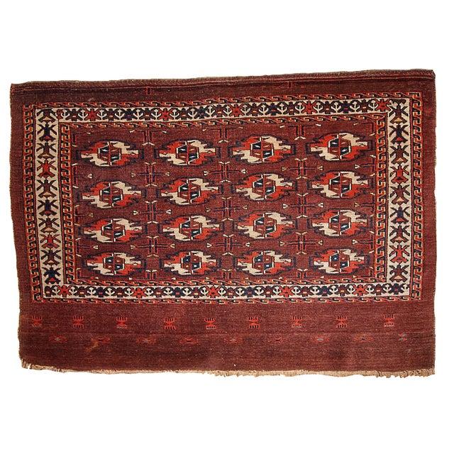 Antique Turkoman Rug: 1860s Hand Made Antique Collectible Turkoman Tekke Rug