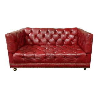 Crimson Red Tufted Leather Chesterfield Sofa