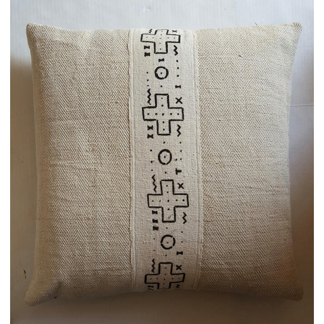African Cream Mud Cloth Pillows - Pair - Image 3 of 4