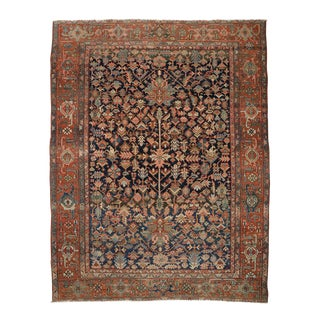 "C. 1900 Antique Low Pile Heriz Rug - 8'8"" X 11'3"""