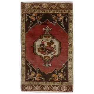 Vintage Turkish Floral Yastik Rug - 1′7″ × 2′9″