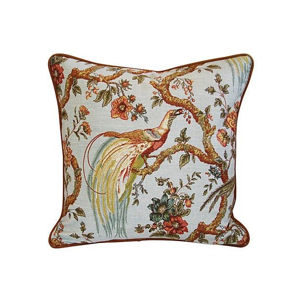 Custom Exotic Chinoiserie Fowl Pillows - Pair - Image 2 of 7