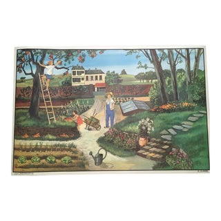 "Vintage French School Two-Sided Poster - ""Le Jardin/ L'Automne"""
