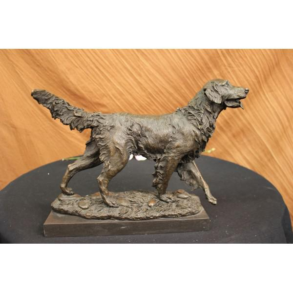 Golden Retriever Bronze Sculpture on Marble Base Figurine - Image 2 of 6