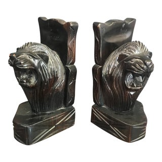 Hand Carved Lion Bookends- A Pair
