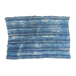 Square African Indigo Blue Striped Throw