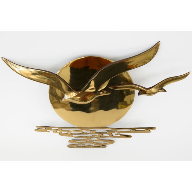 Vintage Brass Seagulls in the Sun Plaque - Image 5 of 11