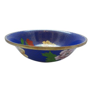 Chinese Floral Royal Blue Cloisonne Bowl