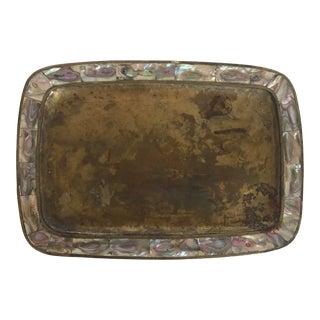 Vintage Brass & Abalone Tray