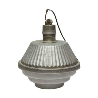 Industrial French Fixture With Milk Glass Base