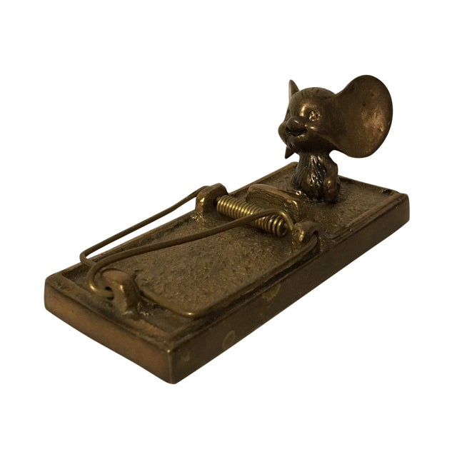 Image of Vintage 1980 Brass Mouse with Trap