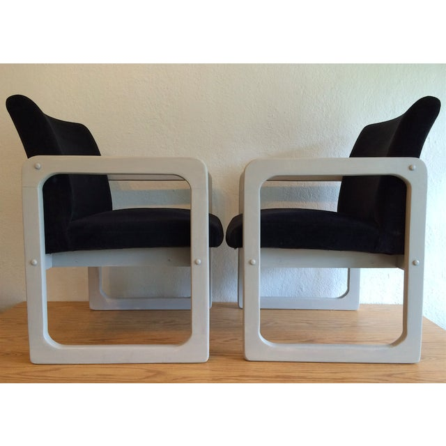 Mid-Century Black Arm Chairs - Image 4 of 7