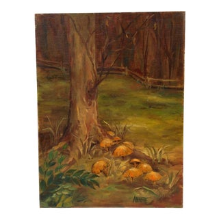 "1970s Oil Painting on Canvas Board ""Mushrooms"""