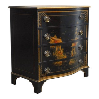 Mid-Century Black Lacquer Chinoiserie Decorated Chest