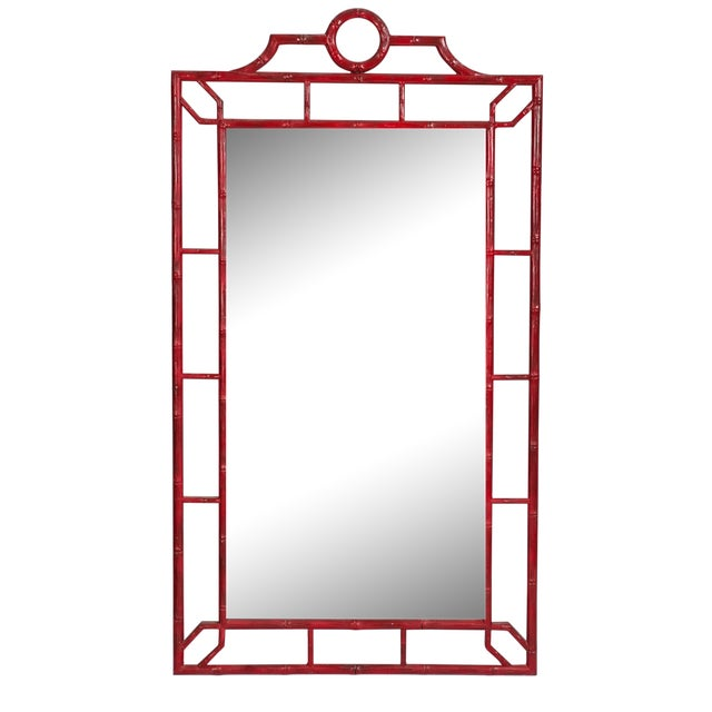 Red Faux Bamboo Mirror - Image 1 of 4