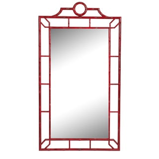 Red Faux Bamboo Mirror