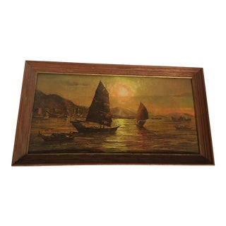 1965 Asian Harbor at Sunset Painting