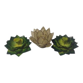 Lotus Flower Candle Holders –Set of 3