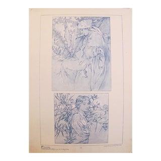 1902 Original French Art Nouveau Poster, Alphonse Mucha Decorative Panel
