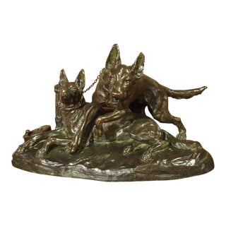 Signed French Bronze Sculpture of Two Dogs, R. Varnier for the Salon des Beaux-Arts 1923