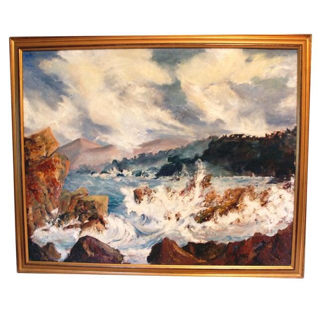 Mid Century Impressionist Ocean Oil Painting - Image 1 of 5