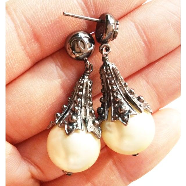 Image of Chanel Gunmetal Edgy Pearl Dangle Earrings