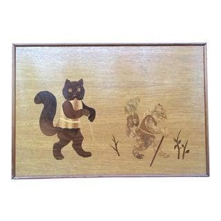 Folk Art Marquetry Cat Plaque c.1974